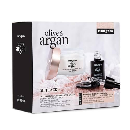 MACROVITA OLIVE & ARGAN GIFT SET: HYALURONIC CREAM POLLUTION & AGE DEFENSE all skin types 50ml + FREE HYALURONIC BEAUTY ELIXIR with argan stem cells 15ml