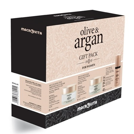 MACROVITA OLIVE & ARGAN GIFT SET: cream for dry or dehydrated skin 50ml + night face cream for all skin types 50ml + FREE Eye Cream 30ml