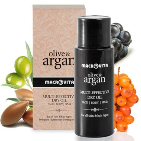 ZESTAW MACROVITA OLIVE & ARGAN: ELIKSIR PIĘKNA z arganowymi komórkami macierzystymi 15ml + 24-godzinny krem z arganowymi komórkami macierzystymi 50ml + GRATIS suchy olejek arganowy 75ml